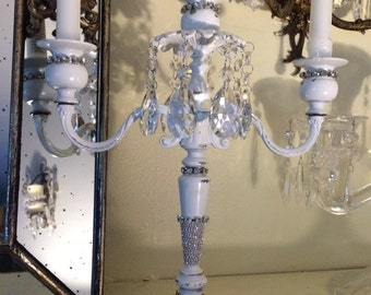 Wedding,event, romantic white candelabra with lots of sparkling Asfour crystal prisms