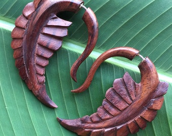 FERN - Fake Gauge Earrings - Hand Carved Natural Sono Wood - Tribal Style Jewelry - Leaf Design