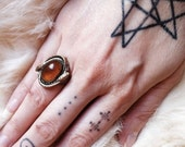 Art Deco Ornate Amber Snake Ring