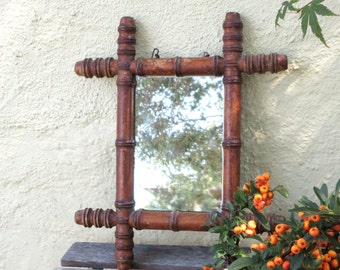 Antique French Mirror - Wooden Mirror - Faux Bamboo Mirror - 1920/1930