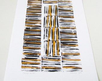 """Modern Geometric Art - """"Champs de blé"""" (Wheat Fields) - Original Linocut, orange, black lines, white, bold contrast, cool home decor, 12x18"""
