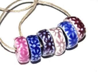 Ceramic Textured Flower Disk Bead Set Handmade Stoneware Purple