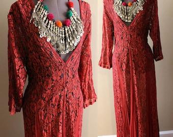 VTG Plunging Neckline Grunge Revival Boho Sheer Lace Gypsy Hippy Festival Summer Maxi Dress