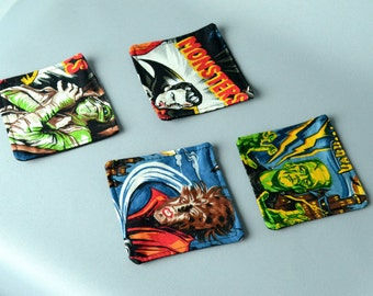 Movie Monsters Fabric Drink Coasters, 100% Cotton, Makes a Great Housewarming Gift!
