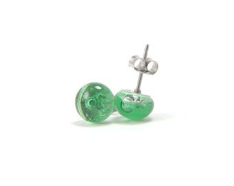 Light green bubbled stud earrings from fused glass with surgical steel posts, skin friendly hypoallergenic