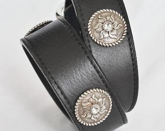 Black Leather Dog Collar, Silver Tooled Conchos, Custom Leather Dog Collar. Sizes meduim to XXL