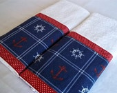 White Hand Towels Trimmed with Nautical, Red Anchors and  White Ships Wheels on Navy  Background