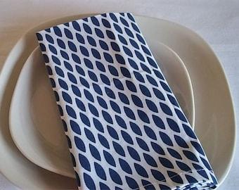 Teardrop, Navy and White Dinner Napkins--Set of 4