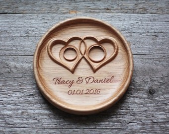 "Personalized Wood Wedding Ring Bearer Pillow, Wedding Ring Dish, Wedding Ring Plate, Ring Bearer Pillow Alternative ""Twisted Hearts"""