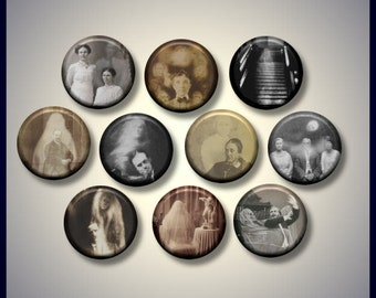 "Photography Spirit Ghosts Victorian Vintage 10 Pinback 1"" Buttons Badges Pins"