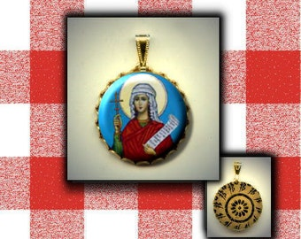 St. TABITHA Orthodox Saint Icon hand pressed flat metal button CABOCHON in Brass Charm / Pendant