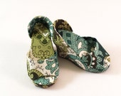 Green Paisley Wedge Shoes for Minifee Heel Feet