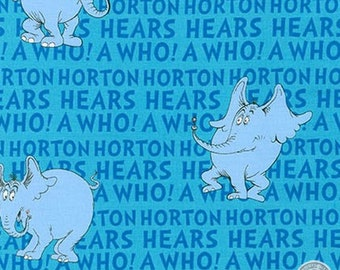149100228 - Dr. Seuss Horton Hears a Who Blue Cotton Fabric By the Yard