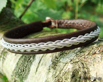 Viking Bracelet Cuff THOR Handmade Swedish Sami Bracelet in Antique Reindeer Leather, Pewter Braid and Antler Closure