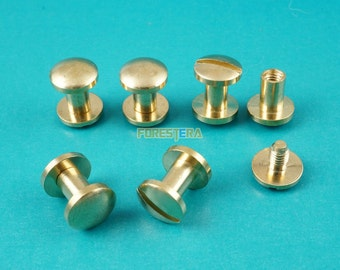 8*6mm Solid Brass Rivet Chicago Screw for Leather Craft Belt Wallet / Cambered Head (RB8X6)