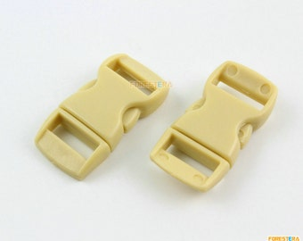100 Pieces 10mm Khaki Plastic Side Quick Release Buckle Clip for Backpack Bag (RBCNO16)