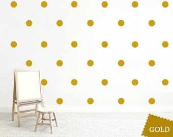 Gold Dot Wall Decal, Gold Vinyl Decal, Polka Dot Wall Decal, Large Gold Dots Stickers, Nursery Wall Decal, Wall Decor for Renters