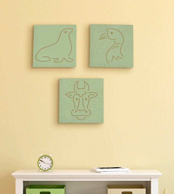 Nursery Wood Wall Decor : Wood wall art plaque animal wooden nursery
