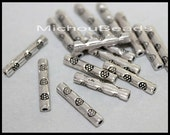 5 Antiqued SILVER 14mm TUBE Beads - 14x2.5mm Nickel Free Metal Tube Spacer Bead - USA Wholesale Discount Beads in Bulk - Instant Ship - 5774