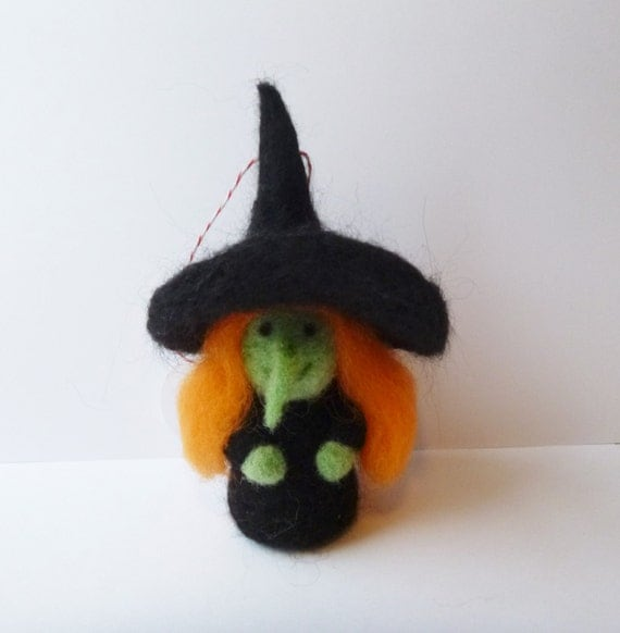 needle felted Halloween witch ornament - tree ornament - holiday ornament - witch sculpture - witch art doll - made to order