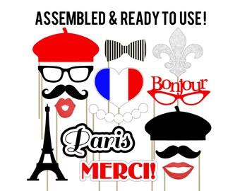 Paris Photo Booth Props . Parisian Photo Booth Props . Red . Eiffel Tower . Fleur de Lis . Bonjour . French Beret . Set of 15