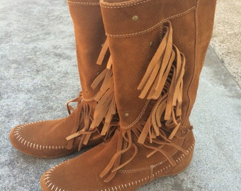 Suede tan leather moccasin fringe booties size 5.5