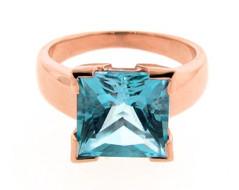 Rose Gold and  Square Blue Topaz Princess cut Ring - Square stone set Rose Gold Ring, cocktail ring