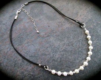 "Leather and pearl necklace with White pearls and soft black leather cord 17"" with 3"" extender SPECIAL PRICE"