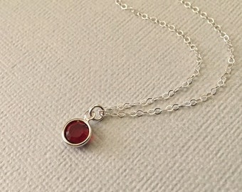 Ruby Necklace in Silver -Ruby Red Swarovski Crystal Necklace in Sterling Silver -July Birthstone Necklace