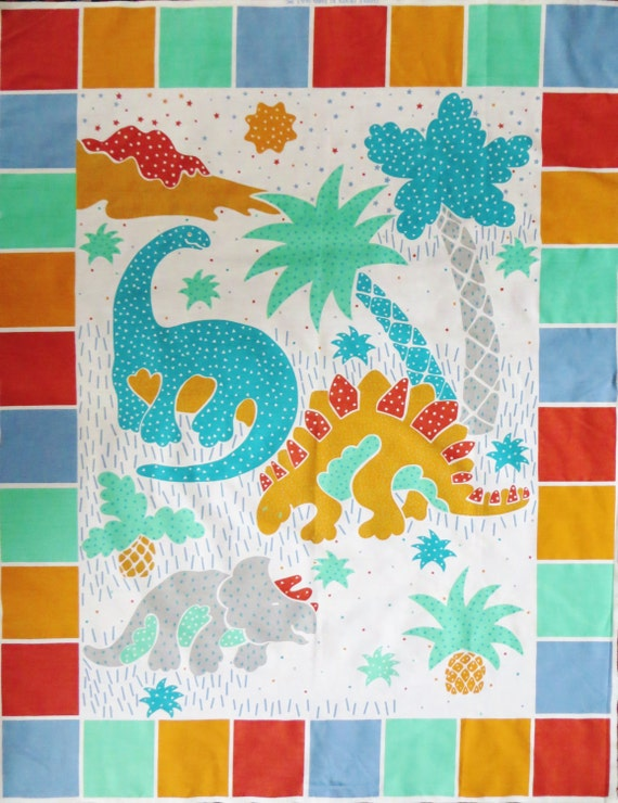 Dinosaur Quilt Fabric Panel For Wall Quilt Or Crib Quilt