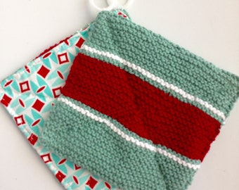 Red White and Turquoise Cotton Handknit and Fabric Pot Holders One of a Kind set.
