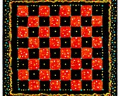 Checkerboard, Hand Painted Wood, Colorful Dots, Whimsical Game Board