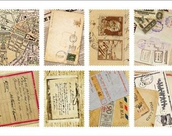 ON SALE Retro Stamp Sticker Set - Ver. 3 - Vol. 7 Vintage Letter - 2 Sheets - 16 Pcs