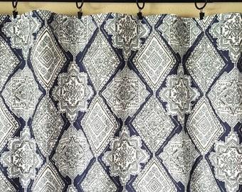 New Vintage Indigo Milan Curtains. Pair of 2 Drapery Panels. Dark Navy Blue. Bedroom Window Treatments.