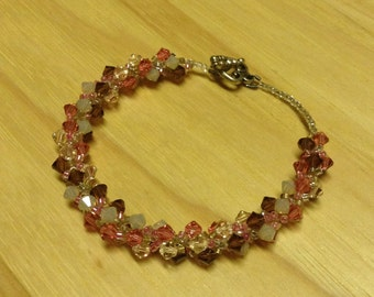 Bead Woven Swarovski Crystal Bracelet Pink Brown Frosted
