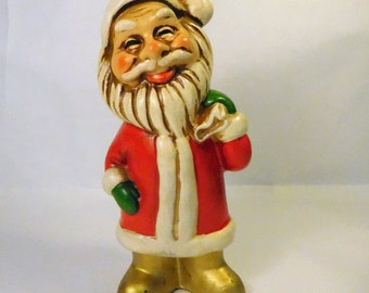 "Vintage SANTA FIGURE - Unique Look - Christmas Decoration - 5"" - Plastic"