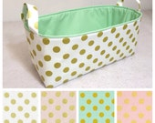 "CUSTOMIZE Metallic Gold Long Storage Bin 16""x6""x7"" Diaper Caddy, Basket Metallic Gold Polka Dot and Lining Colors You Choose"