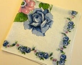 """VINTAGE Hankie - 1950s/60s - 12 1/2"""" square - White cotton, 3 large Blue Roses & buds, Pink open Rose and bud, Blue rose pattern border"""