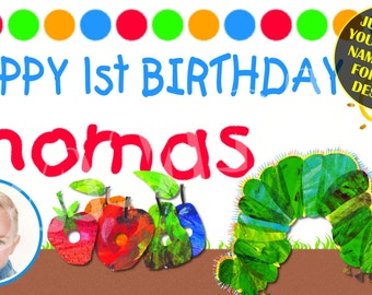 The Hungry Caterpillar Personalized Custom Birthday Banner Party Decoration with photo