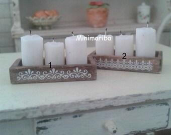 Miniature dollhouse shabby candles