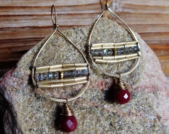 Rosie. Hammered Artisan Boho Gold Brass Chandelier Drop Earrings with Wire Wrapped Raspberry Red Jade, Gold Glass, and Labradorite Gemstones