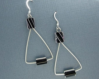 Sterling Silver Earrings Dangles Triangle