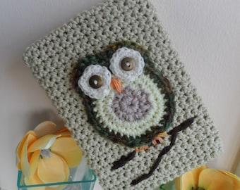 Hand Crocheted Pistachio Green Owl Kindle Nook Kobo E-reader Tablet iPad Sleeve Cover Holder