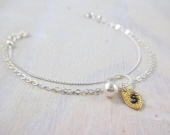 Bridesmaids Personalized Pearl Bracelet , Swarovski Bracelet, Gift Jewelry , Wedding, Bridesmaids jewelry