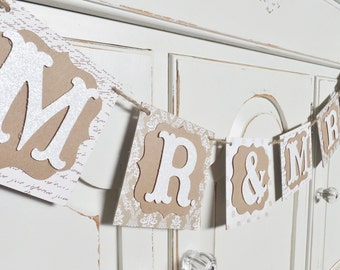 "Summer Wedding ""MR. & MRS."" Banner ~ Photo Prop ~ One of a Kind ~ Bridal Shower Decor ~ Neutral and White Colored Papers"