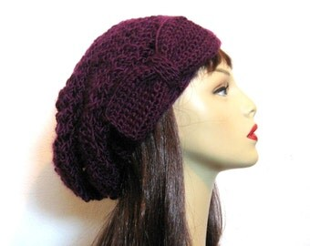 Purple Slouch Hat With Bow Deep Purple Hat Slouch Beanie Knit Beanie Slouchy Cap Eggplant Beret Dark Purple Crochet slouch hat Fig Beanie