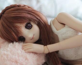Dollfie Dream DD SD 1/3 dark brown  curly wig 23cm