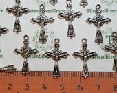 15 or 30 pcs per pack 23x14mm tiny Crucifix Charm Antique Silver Finish Lead Free Pewter