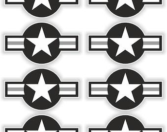 8x US Airstars Black Air Force Star Military Stickers for Laptop Book Fridge Guitar Motorcycle Helmet ToolBox Door PC Boat