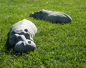 "X2 Hippo, Garden Ornaments, Hippopotamus Sculptures 17"" Long, Father's Day, Birthday Gift, Easter, Valentines, Christmas"